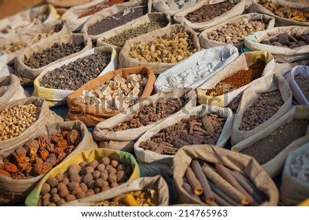 Spices are sold on the open east market. India, Pushkar - stock photo