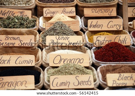 Spices at an Eastern market - stock photo