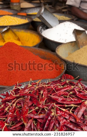 Spices at the indian street market - stock photo