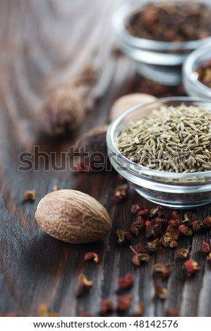 Spices- Caraway and nutmeg - stock photo