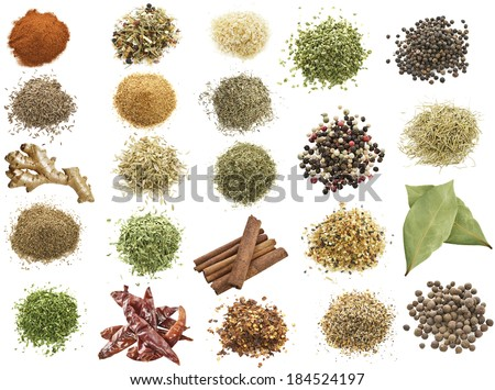 Spices Collection On White Background - stock photo