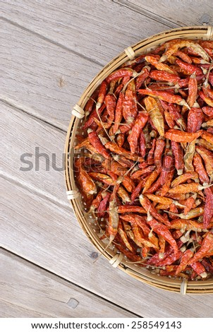 spices - dried red hot chilli chillies pepper  - stock photo