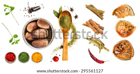 Spices for cooking and medicine on white background. - stock photo