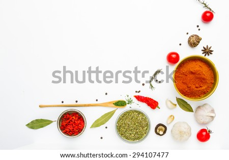 Spices for herb and cooking on white background,Top view spices on white background,spices and herbs,spices content,Indian spices for making something food on the world. - stock photo
