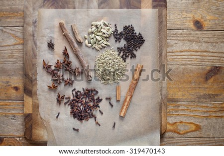 Spices for making homemade bitters - stock photo