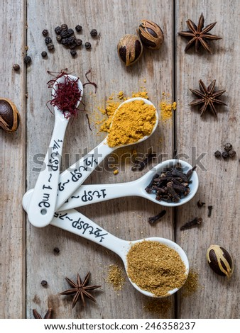 Spices from Zanzibar: saffron, turmeric, cloves, cumin, pepper, nutmeg and anise. - stock photo