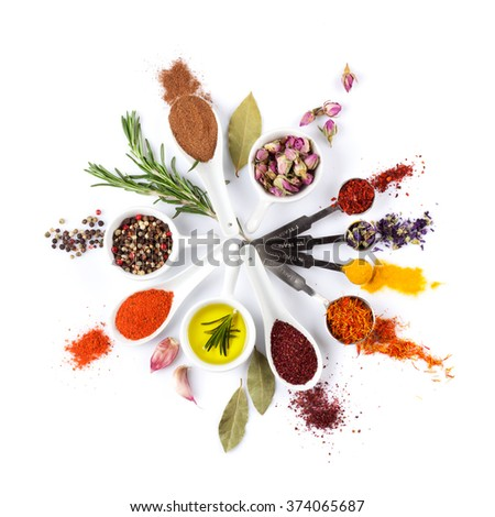 Spices, herbs and condiments. Isolated on white background - stock photo