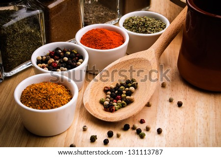 Spices in bowls - stock photo