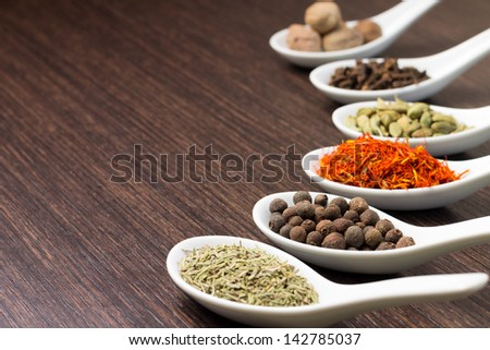 Spices in Ceramic Spoon - stock photo