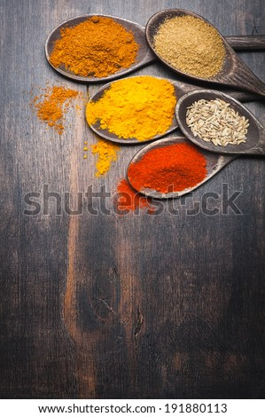Spices in the spoons. Spice Turmeric, paprika, coriander, masala - stock photo
