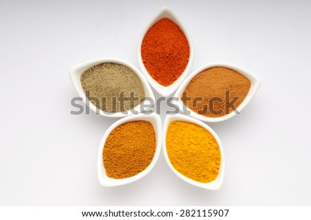 spices,Indian spices, color full spices in ceramic white bowls - stock photo