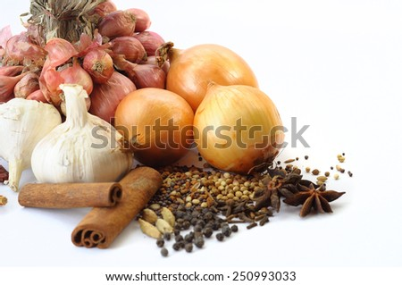 Spices isolated on white background, Selective focus - stock photo