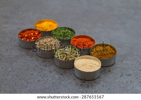 Spices mix selection background for decorate design project  - stock photo
