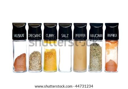Spices - nutmeg oregano curry salt pepper marjoram chili - stock photo