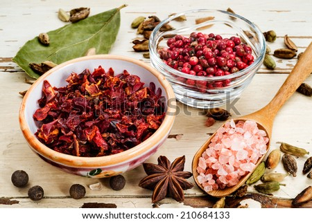 spices on checkered cover, selective focus - stock photo