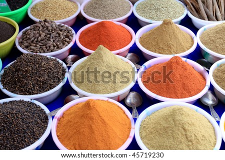 Spices on sale in Goa - stock photo