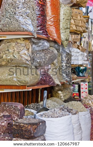 Spices on the Arab market, souk - stock photo