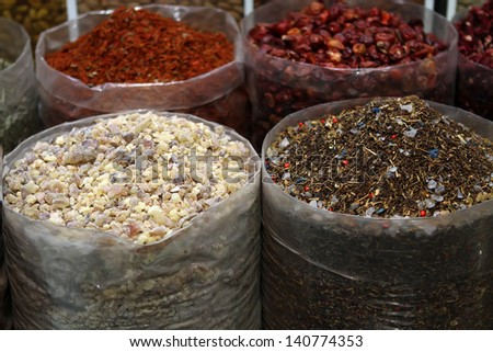Spices on the market - stock photo