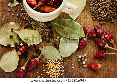Spices on the wooden background  - stock photo