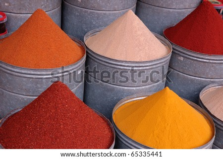 Spices piles in food market - stock photo