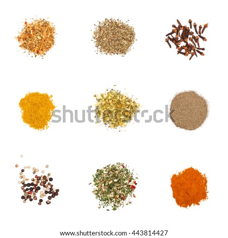 Spices set on white. Individual seasonings and mixes thereof - stock photo