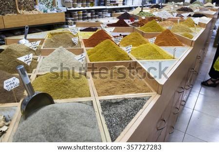 Spices shop on Beit HaBad Street. Jerusalem. Israel. - stock photo