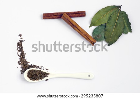 Spices. Spices in ceramic spoon over white background. Zira and cinnamon, bay - stock photo