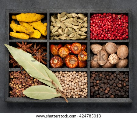 spices, spicy, seasonings  in wooden box , top view.  - stock photo