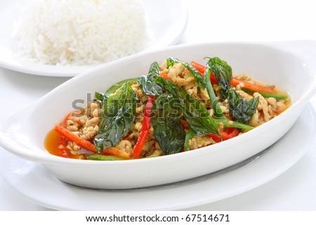 Spicy Basil Ground Chicken - stock photo