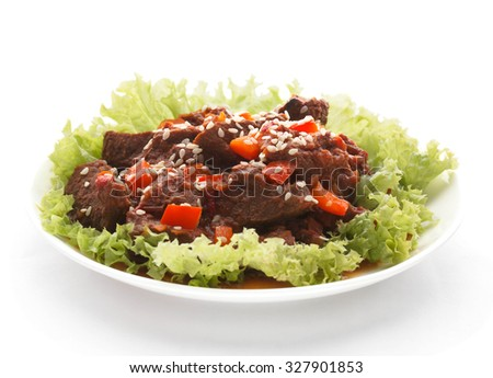 Spicy beef in tomato sauce. - stock photo