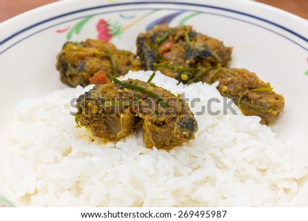 Spicy cat fish with curry herb serve with rice focus at center. - stock photo
