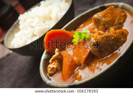 spicy chicken curry and rice - stock photo