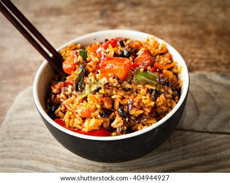 Spicy chinese chicken fried rice - stock photo