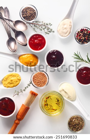 Spicy Close up Rubs and Marinades on White Table with Spoons and Brush. - stock photo