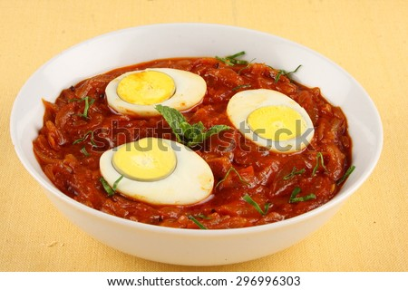 Spicy Egg,curry - stock photo