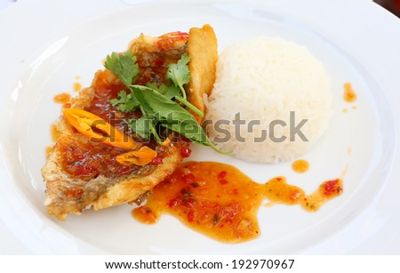 Spicy fried fish - stock photo