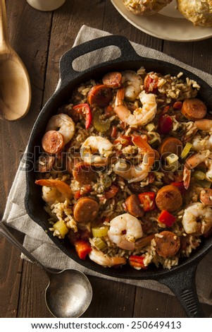 Spicy Homemade Cajun Jambalaya with Sausage and Shrimp - stock photo