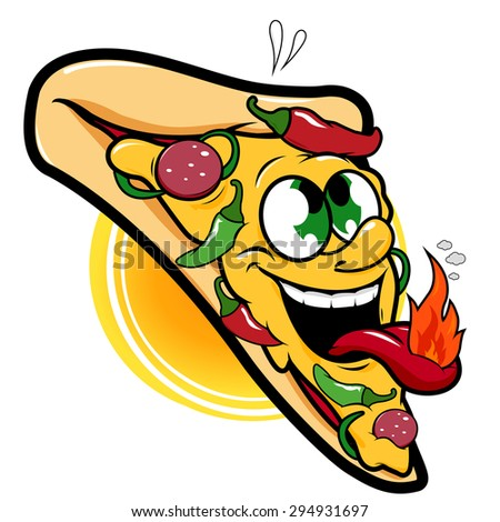 Spicy hot pizza character. Illustration of a spicy hot pepper pizza slice character. Vector version also available in my gallery. - stock photo