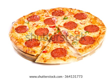 Spicy mexican pizza with salami and chilli pepper - stock photo