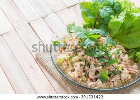 Spicy minced chicken salad,Thai Food. - stock photo