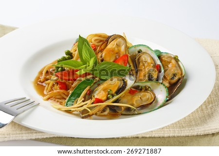 Spicy mussel salad - stock photo