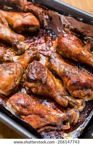 Spicy Orange Jam Glazed Chicken Wings - stock photo
