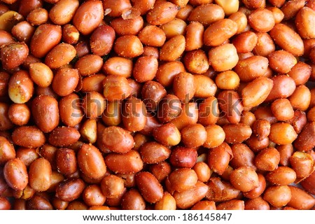 Spicy Peanuts close up view. - stock photo