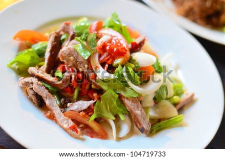 Spicy pork salad with vegetables , Asian style food , Thailand - stock photo
