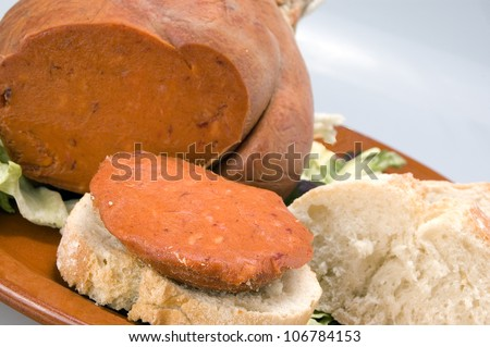 spicy pork sausage typical food of Mallorca, Baleric Islands - stock photo