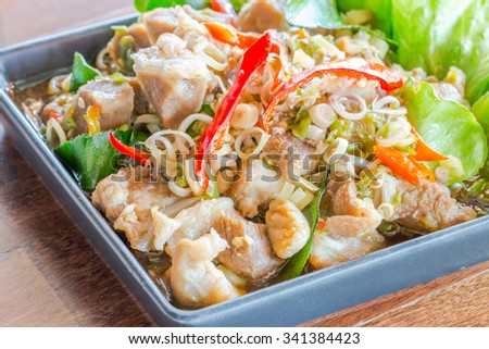 Spicy pork with Lemongrass ,Thai food - stock photo