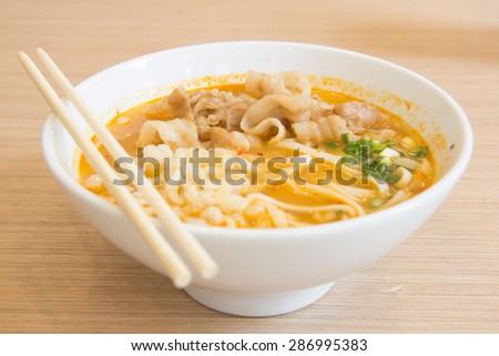 Spicy Ramen Noodle - stock photo