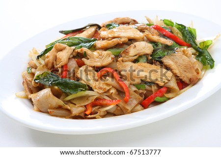 Spicy Rice Noodle Chicken - stock photo