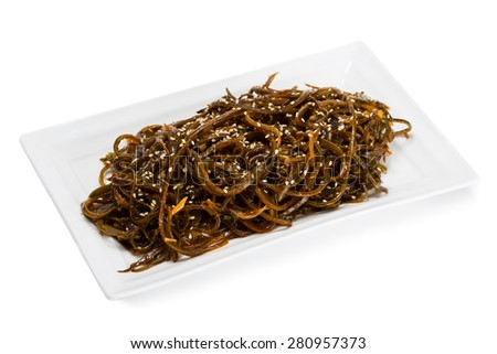 Spicy salad with heh seaweed and sesame. From a series of Food Korean cuisine. - stock photo