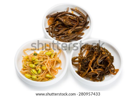 Spicy salads heh of seaweed, sprouts of fern and beans sprouts. From a series of Food Korean cuisine. - stock photo